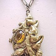 Marvelous Art Nouveau Lavaliere Necklace - Amber Rhinestones