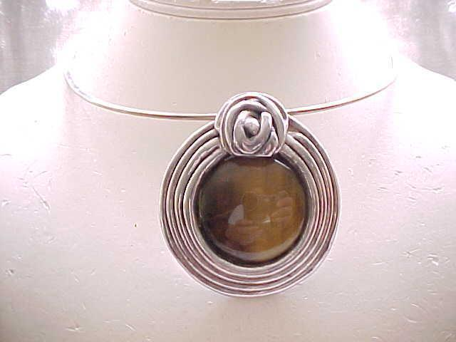 Fantastic Huge Pin/Pendant, Earrings - Sterling, Natural Stones