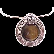 Fantastic Huge Pin/Pendant, Earrings - Sterling, Natural Stones