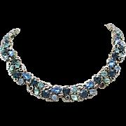 Spectacular Lisner Rhinestone Necklace - Blue & Aqua