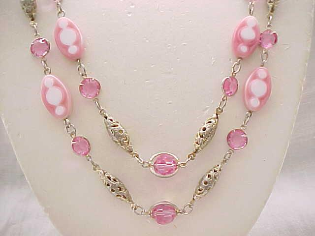 07 - Beautiful Necklace Pink Crystals, Art Glass Beads, Filigree - 2 Strands
