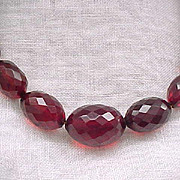 Gorgeous Faceted Cherry Amber Necklace - Extra Long