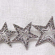 Lovely Sterling and Marcasite Pin - 3 Stars