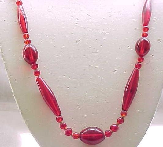 Czech Ruby Red Glass Bead Necklace - Gorgeous