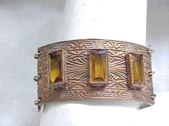 Fabulous Art Deco Bracelet - Amber Rhinestone Baguettes, Exceptional Chased Design