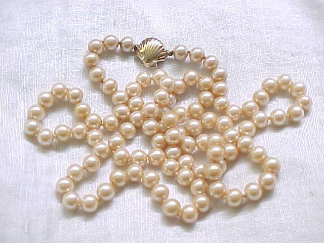 Opera Length Panetta Faux Pearl Necklace - Shell Clasp