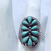 Impressive Native American Petit Point Ring - Signed - Size 9 1/2