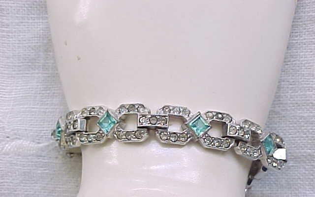 Superb Art Deco Rhinestone Bracelet - Aqua - Signed EB