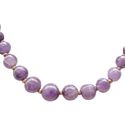 Lovely Necklace Amethyst Beads, Goldtone Spacers
