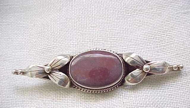 Sterling Silver Pin with Jasper Center - Natural Stone