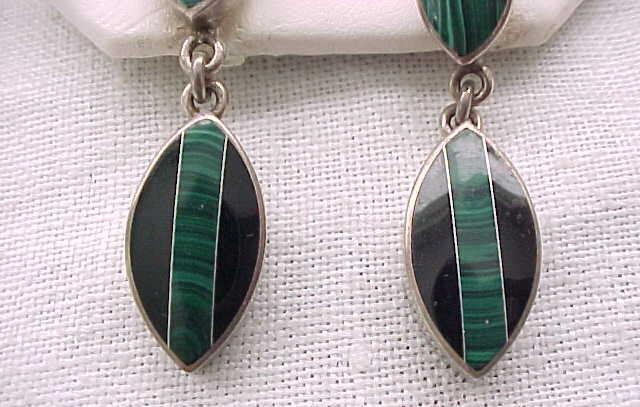 Exceptional Sterling Silver Earrings Malachite, Onyx - Pierced Ears - Drop Style