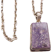Gorgeous Purple Natural Stone Sterling Pendant Necklace