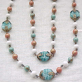 Czech Necklace Aqua, Coral, White - All Glass Beads - Art Glass