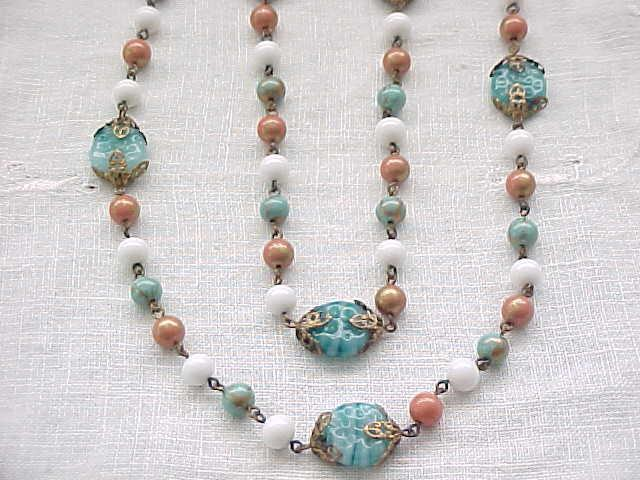 Czech Necklace Aqua, Coral, White - All Glass Beads - Art Glass