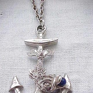 Spectacular Hattie Carnegie Fish, Anchor Necklace - Silvertone Metal - Nautical