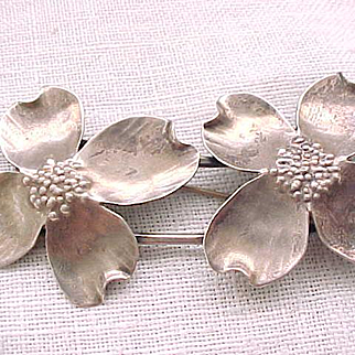 Large Nye Double Dogwood Brooch - Sterling Silver