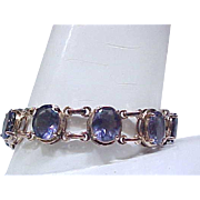 Gorgeous Sterling Bracelet, Gold Vermeil - Blue/Purple Stones