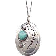 04 - Lovely Sterling Pendant with Turquoise, Sterling Chain