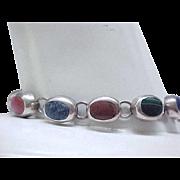 01 - Nice Sterling Silver Bracelet Natural Stones - Carnelian, Lapis, Onyx