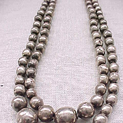 Double Strand Navajo Pearl Necklace - Sterling Silver