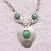 Transitional Art Deco Necklace - Silvertone, Marbled Green Stones
