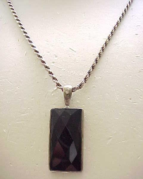 Classic Black Onyx Pendant Necklace - Chunky Sterling Chain