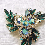 Juliana Pin, Earring Demi Parure - Emerald Green Navettes, Aurora Borealis
