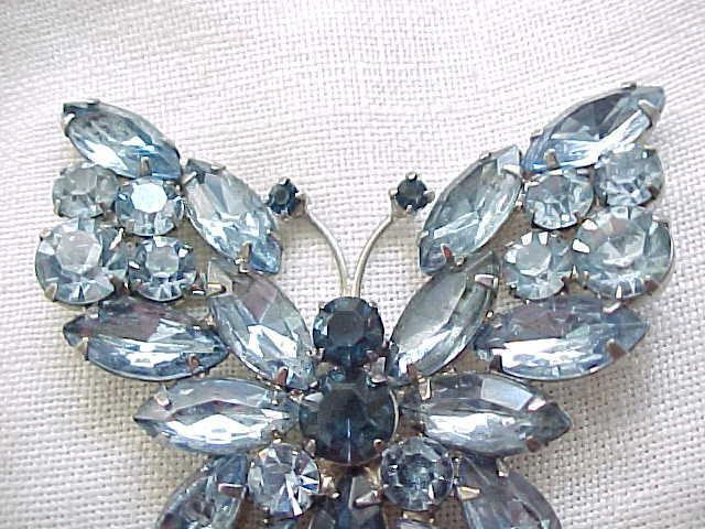 Large Rhinestone Butterfly Pin - Ice Blue, Sapphire Blue