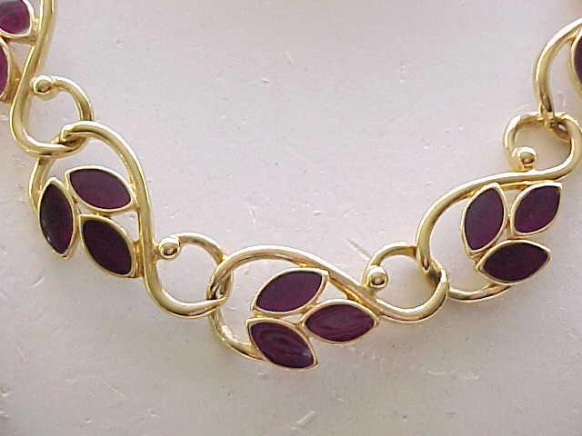 Trifari Goldtone Necklace with Purple Enamel
