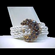 Elegant Faux Pearl Necklace and Bracelet - Black Diamond Rhinestones