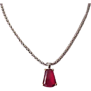 01 - Pretty Necklace with Red Stone Pendant, Pierced Earrings