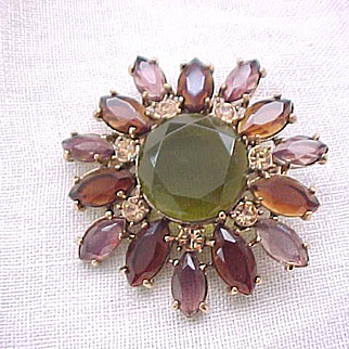 01 - Monet Rhinestone Pin - Fall Colors - Olivine, Purple, Topaz
