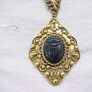 03 - Black Lucite Scarab Necklace
