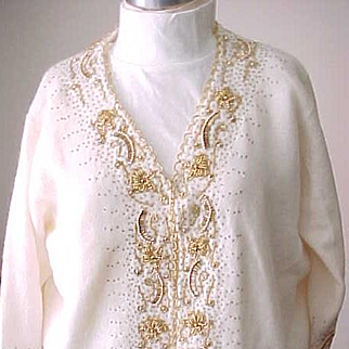 Gorgeous Vintage Beaded Sweater - White, Gold Color Beads - size 44 - Hong Kong