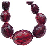 Superb Cherry Amber Necklace - Extra Long, Large Beads