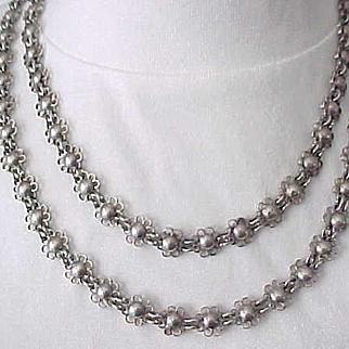 Incredible Sterling Silver Necklace - Floral Design - 94 Grams