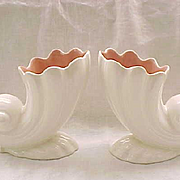 Fabulous Pair Catalina Cornucopia Vases - California Pottery - Shell Vase