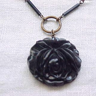 Black Glass Rose Necklace Czech