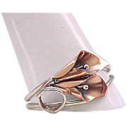 Nye Sterling and Copper Calla Lily Bracelet,  Brooch