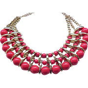 03 - Three Strand Collar Style Necklace - Pretty Red and Goldtone
