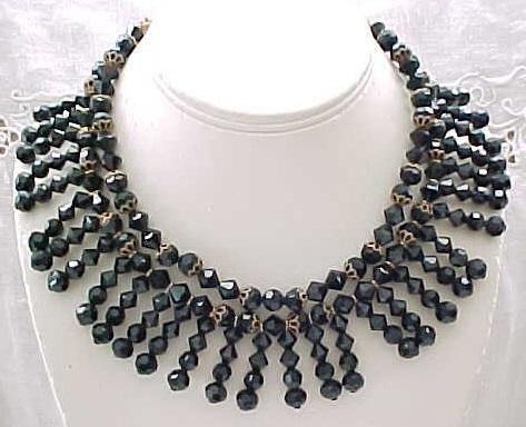 11 - Elegant Black Fringe Bib Necklace, Ear Climber Earrings