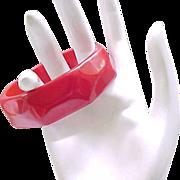 09 - Red Carved Bakelite Bangle Bracelet