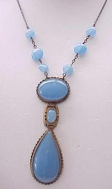 10 - Blue Glass Czech Necklace 1930's