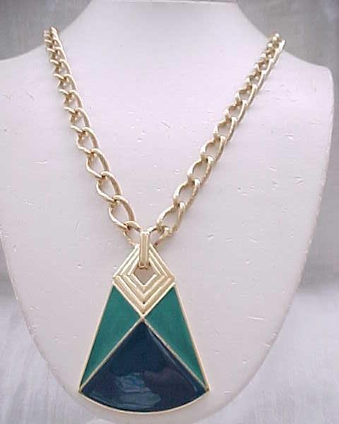 Chic Trifari Pendant Necklace - Teal Enamel, Goldtone