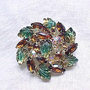 Fabulous Molded Glass and Rhinestone Brooch - Earth Colors Green, Topaz