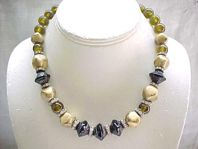 03 - Elegant Art Glass Necklace on Chain - Rhinestone Rondelles