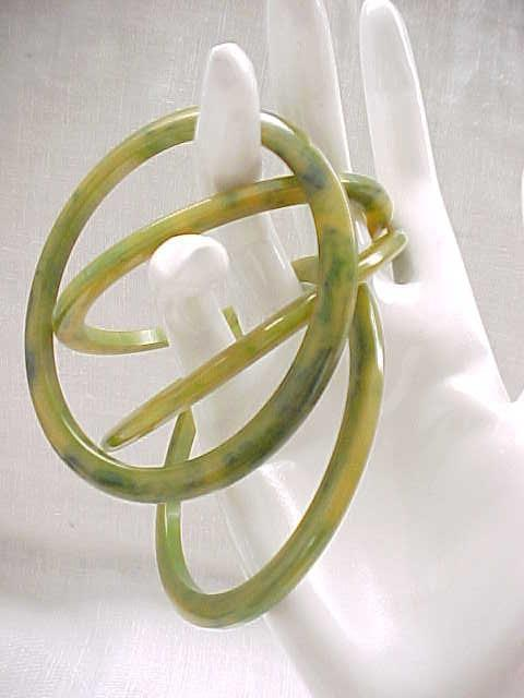 Set of 4 Bakelite Bangles Marbled Green