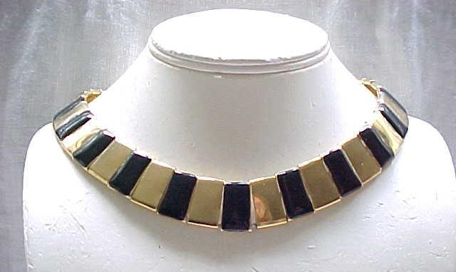 02 - Stylish Black Enamel & Goldtone Necklace,  Bracelet