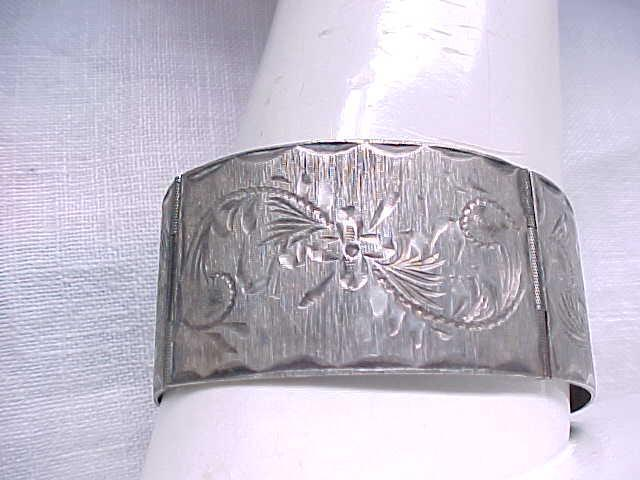 Wide Sterling Bracelet - 4 Panels - Embossed Designs