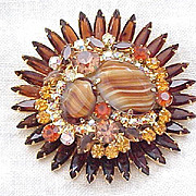 Juliana Massive Brooch, Earrings  - Striped Stones, Rhinestones